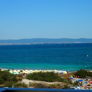 Sunny beach, Bulgaria largest seaside resort, is just a 20 min. drive across the bay.