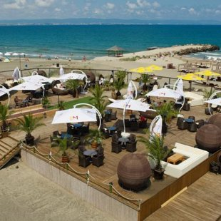 The beach at the swanky Grand Hotel Pomorie